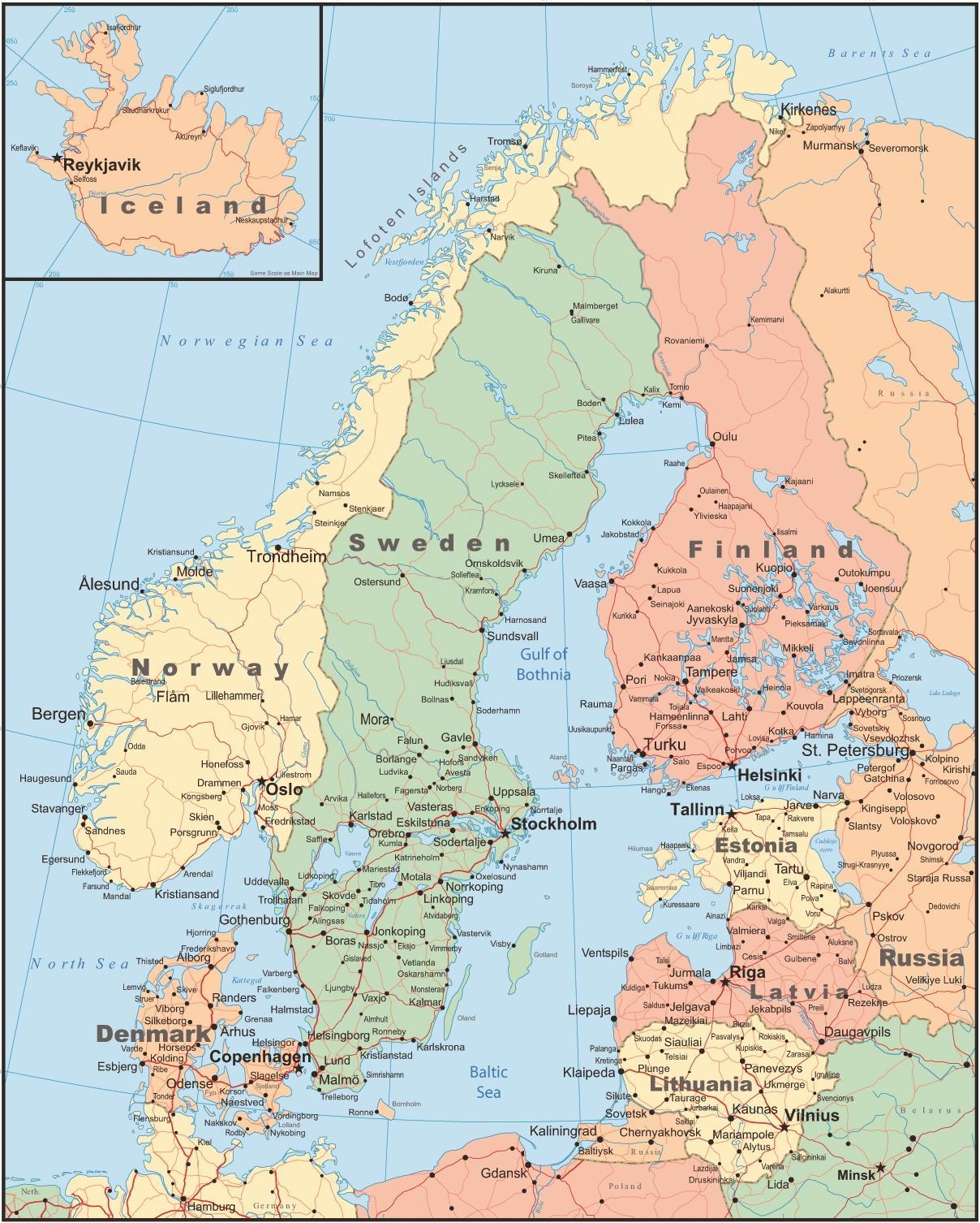 Harta Finlanda și țările Din Jur Harta Finlanda și țările Din